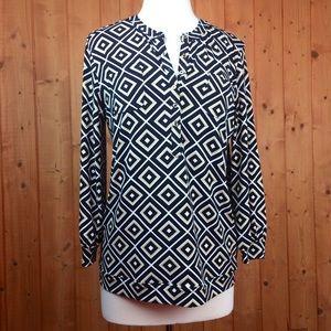 Anne Klein Diamond Print 1/2 Button Tunic Blouse L